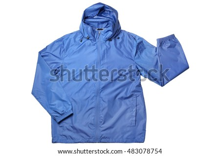Blue windbreaker isolated on white background
