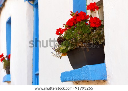 Blue window cottage house with red flowers in Ireland - stock photo