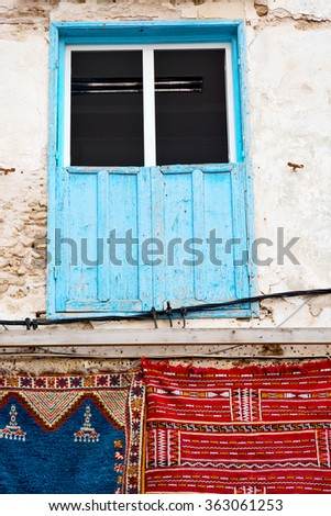 blue window in morocco africa old construction and brown wall red carpet