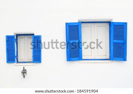 blue window,vintage window - stock photo