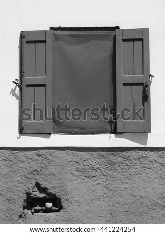 blue window with shutters - stock photo