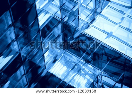 blue windows and mirrors in a modern office building