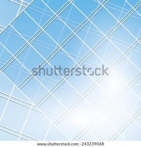 blue windows on modern buildings - stock photo
