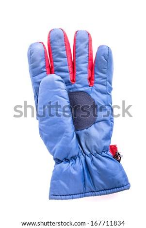 blue winter glove - stock photo