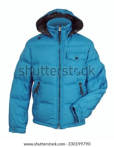 blue winter jacket isolated on white - stock photo