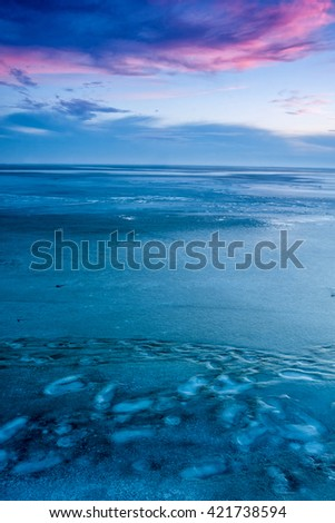 Blue winter landscape over the lake Balaton of Hungary