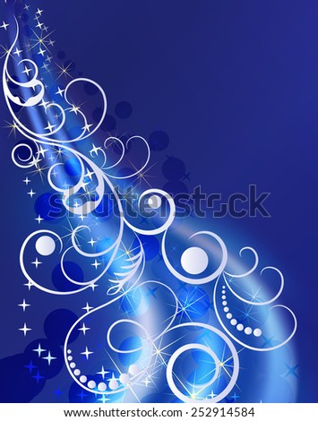 Blue winter ornament with blue copy space background. - stock photo