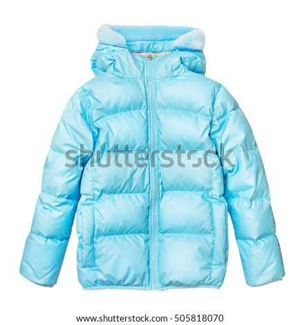 Blue winter sport outwear jacket isolated on white.Fashion clothes.