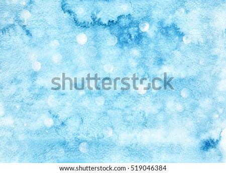 Blue winter watercolor background with formless stains