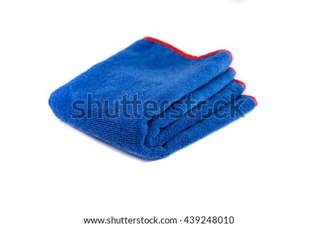 Blue wipes microfiber on white background