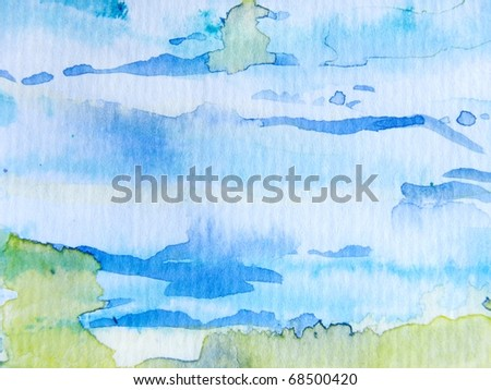 Blue with Yellow Watercolor Background - stock photo