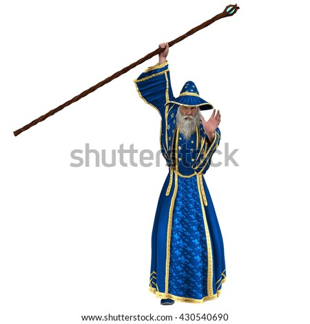 blue wizard holding staff casting spell stock illustration