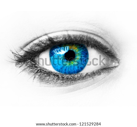 Blue woman eye extreme macro shot - stock photo