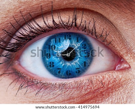 Blue woman eye with clock - concept photo - stock photo