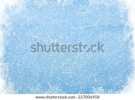 Blue wood texture with snow christmas background - stock photo