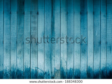 Blue wood wall texture background - stock photo