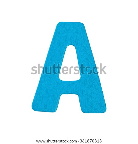 blue wooden alphabet A isolated on white background