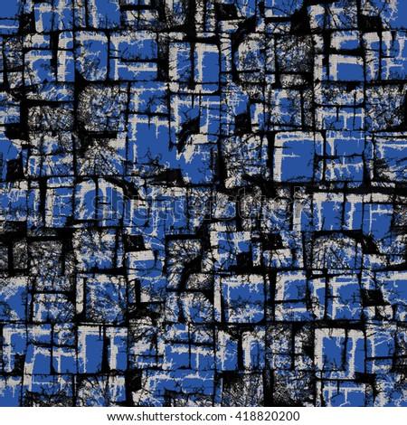 Blue wooden blocks background - stock photo