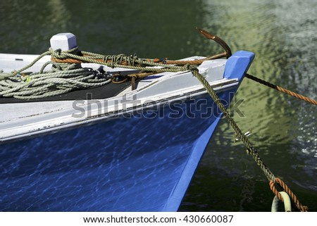Blue wooden boat in the harbor, Melbourne, Australia