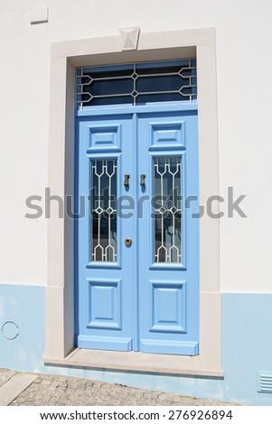 blue wooden door - stock photo