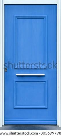 blue wooden front door - stock photo