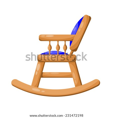 Blue wooden rocking chair isolated on white background. Raster copy. - stock photo