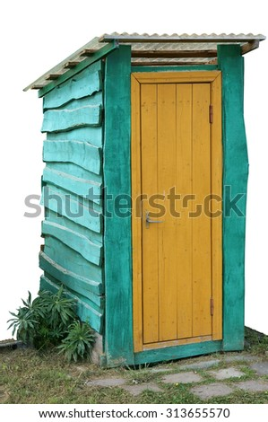 Blue wooden rural handmade  forest toilet with a yellow door. Isolated object  for  Halloween collages Plural Halloweens collages