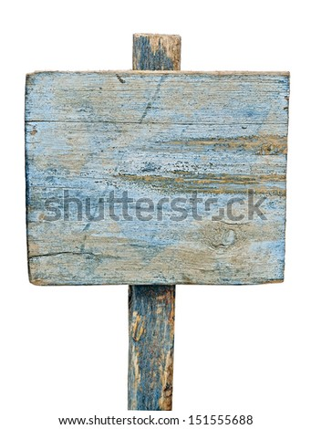 blue wooden sign on white - stock photo