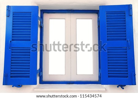 Blue wooden Window on the white concrete wall