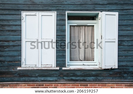 Blue wooden windows, Saint Leu, Amiens, France