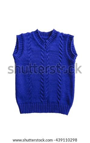 Blue wool blend children's vest with textured pattern - stock photo