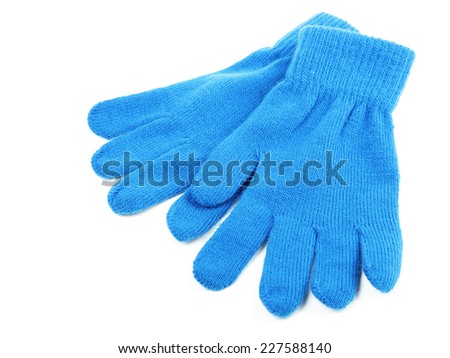 Blue wool gloves isolated on white background  - stock photo