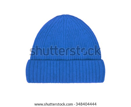 blue wool hat isolated on white background - stock photo