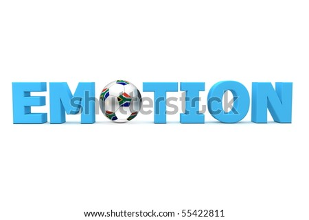blue word Emotion with football/soccer ball with south african flag replacing letter O