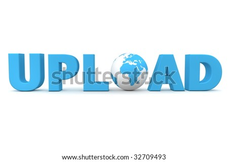 blue word Upload with 3D globe replacing letter O