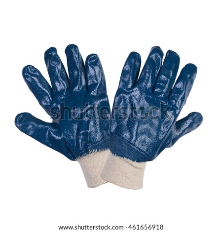 Blue work gloves isolated on white background