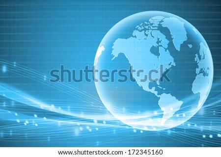 blue world business background - stock photo