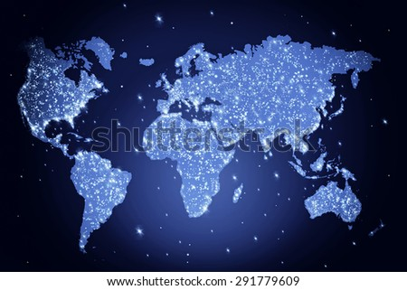 Blue world map night lights abstract stock illustration 291779609 blue world map in the night with lights abstract illustration gumiabroncs Gallery