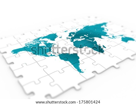 Puzzle world map stock illustration 58598695 shutterstock blue world map on white jigsaw puzzle piece gumiabroncs Images
