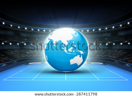 blue world map placed on a blue court set on Asia tennis sport theme render illustration background - stock photo