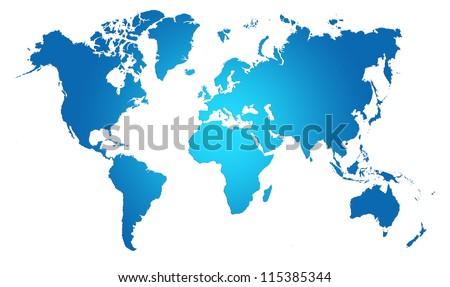 Blue  World Map, World background - stock photo