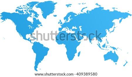 Blue world map. World map blank. World map flat. World map template. World map object. World map infographic. World map clean. World map art. World map card - stock photo