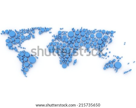 Blue world of circles 3d  - stock photo