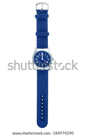 Blue wristwatch closeup isolated on white background