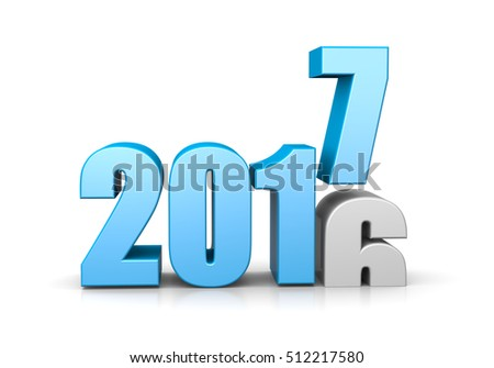 Blue 2017 Year Number Text on Top of 2016 on White Background 3D Illustration. Time Passes Concept