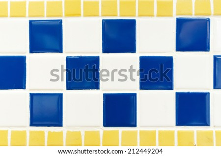 blue yellow and white tile wall high resolution real photo - stock photo