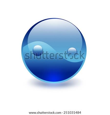 blue yin yang symbol on a white background - stock photo