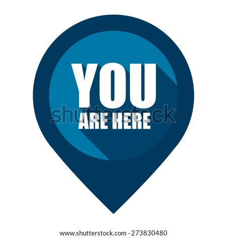 Blue You Are Here Map Pointer Icon Isolated on White Background  - stock photo