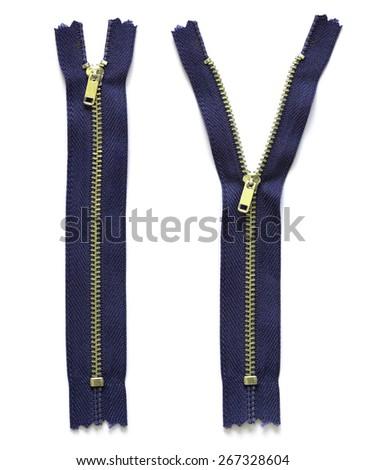 blue zipper isolated on white - stock photo