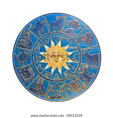 Blue zodiac wheel with clipping path included - stock photo